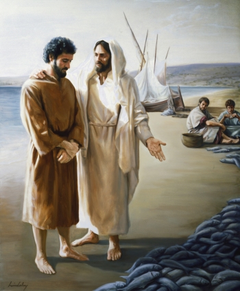 Peter and Jesus With Fish